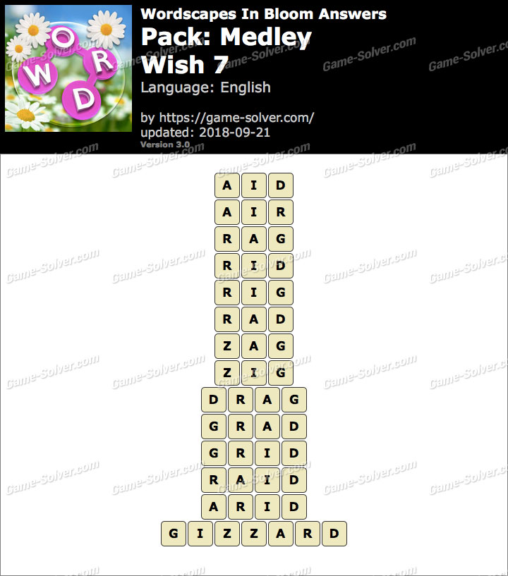 Wordscapes In Bloom Medley-Wish 7 Answers