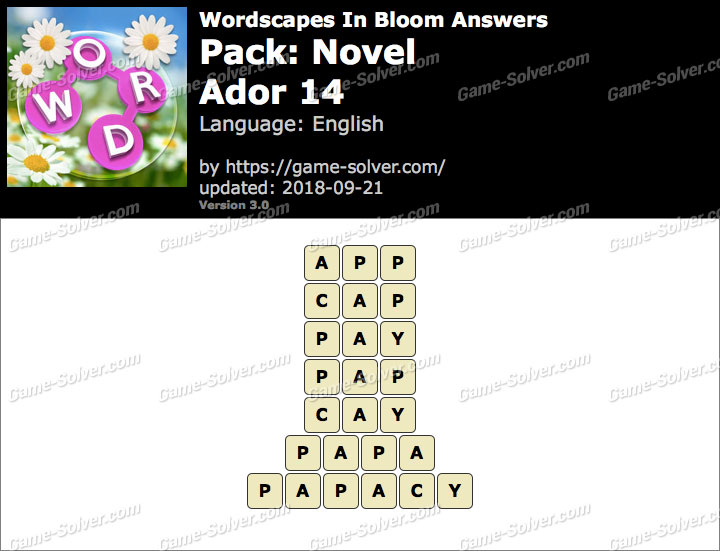 Wordscapes In Bloom Novel-Ador 14 Answers