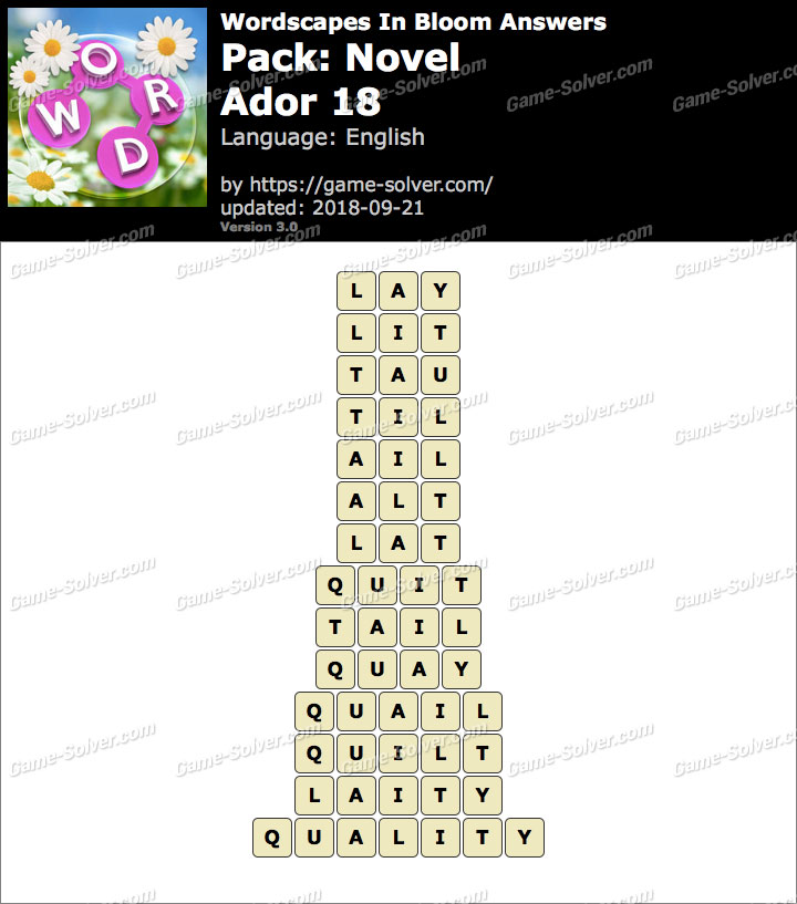 Wordscapes In Bloom Novel-Ador 18 Answers