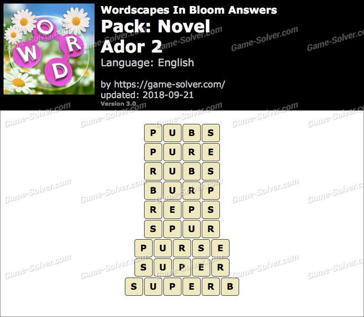 Wordscapes In Bloom Novel-Ador 2 Answers