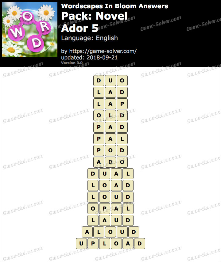 Wordscapes In Bloom Novel-Ador 5 Answers
