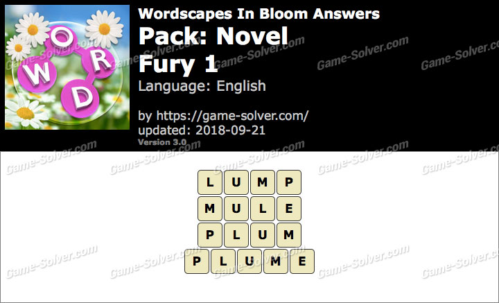 Wordscapes In Bloom Novel-Fury 1 Answers