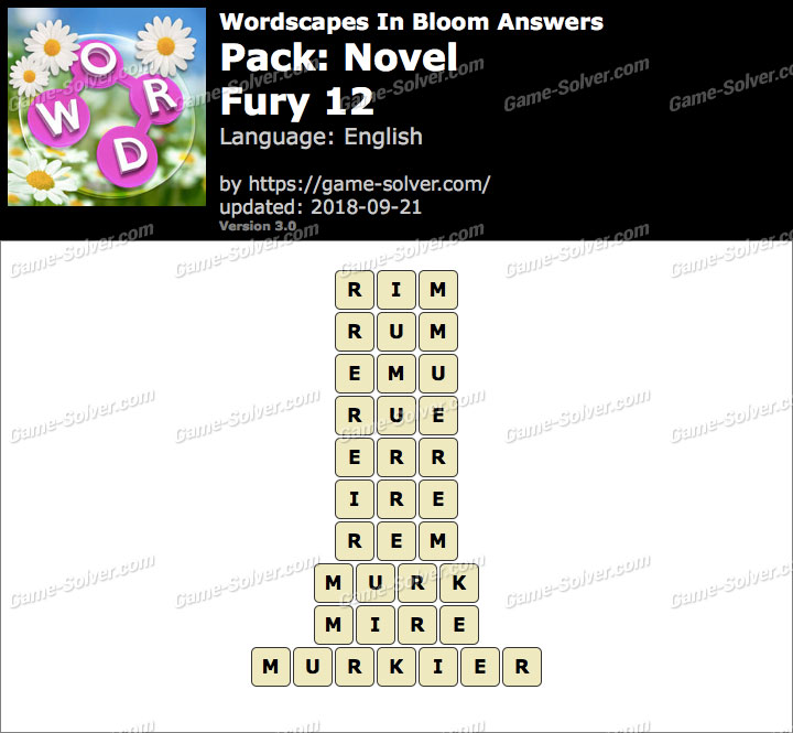 Wordscapes In Bloom Novel-Fury 12 Answers