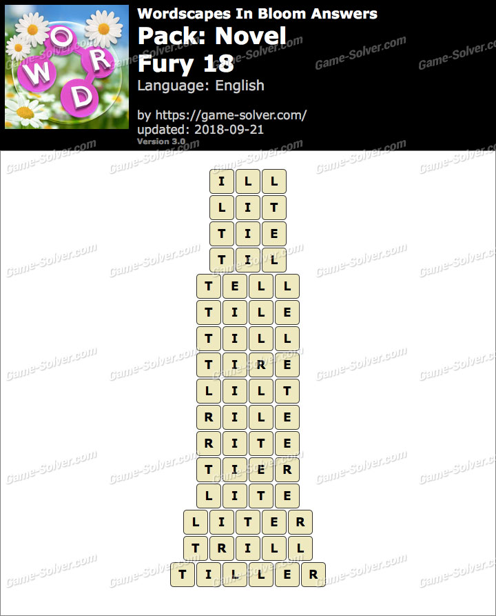 Wordscapes In Bloom Novel-Fury 18 Answers