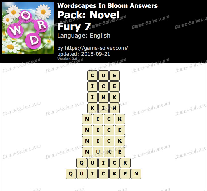 Wordscapes In Bloom Novel-Fury 7 Answers