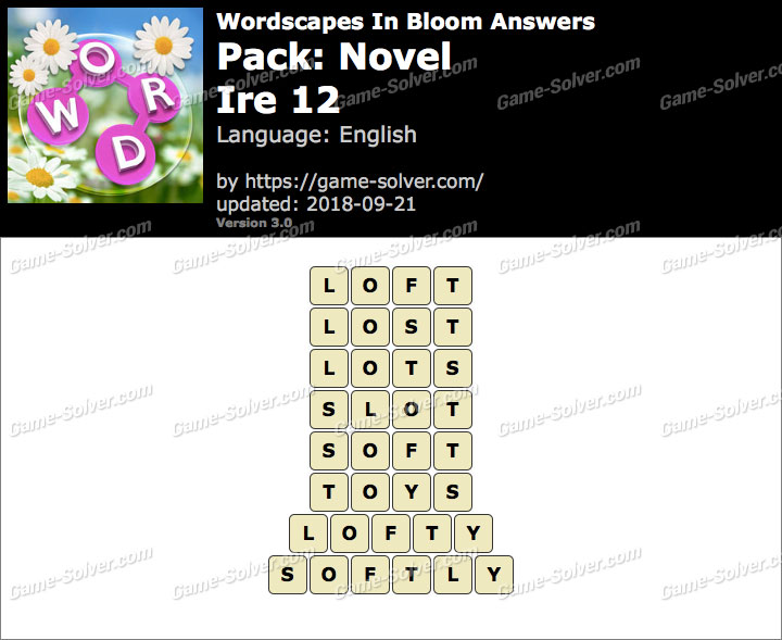 Wordscapes In Bloom Novel-Ire 12 Answers