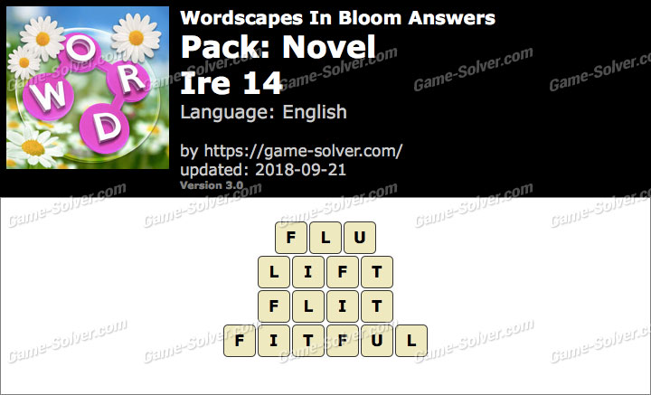 Wordscapes In Bloom Novel-Ire 14 Answers
