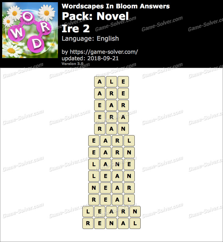 Wordscapes In Bloom Novel-Ire 2 Answers