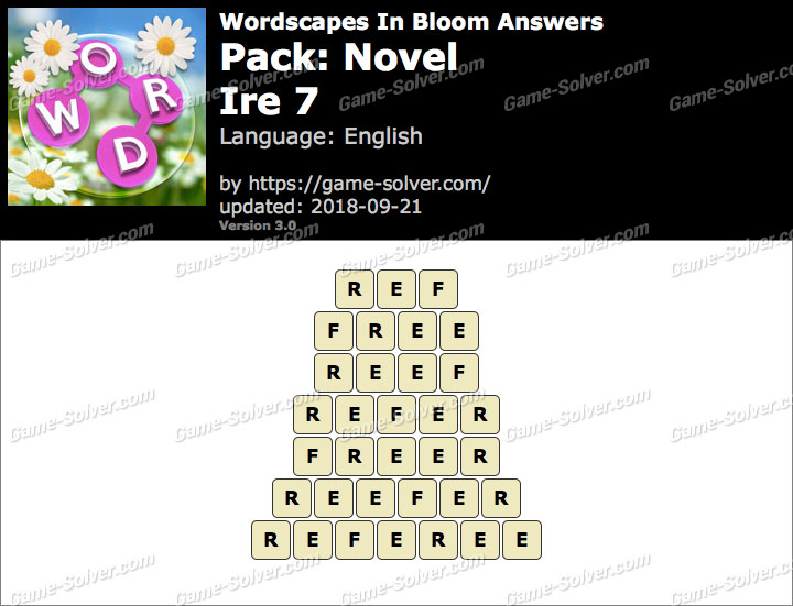Wordscapes In Bloom Novel-Ire 7 Answers