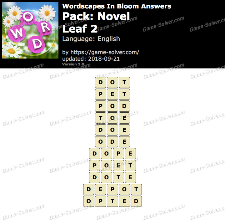 Wordscapes In Bloom Novel-Leaf 2 Answers