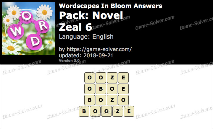 Wordscapes In Bloom Novel-Zeal 6 Answers