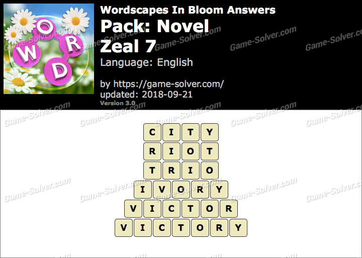 Wordscapes In Bloom Novel-Zeal 7 Answers