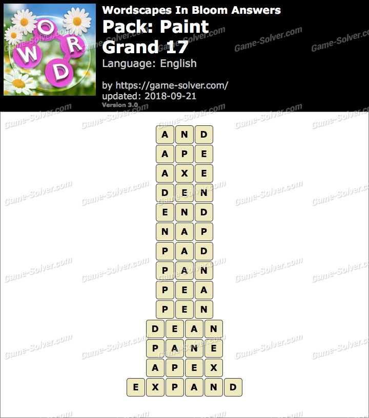Wordscapes In Bloom Paint-Grand 17 Answers