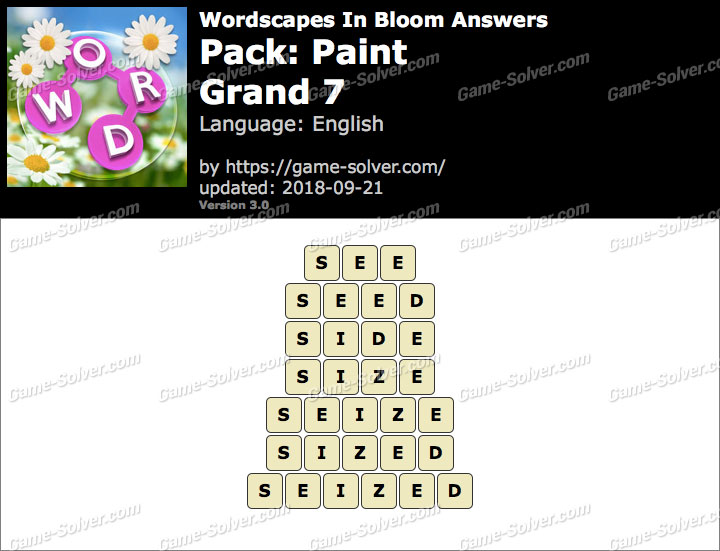 Wordscapes In Bloom Paint-Grand 7 Answers