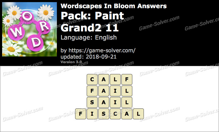 Wordscapes In Bloom Paint-Grand2 11 Answers