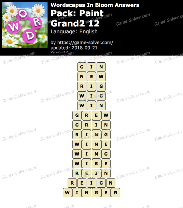 Wordscapes In Bloom Paint-Grand2 12 Answers