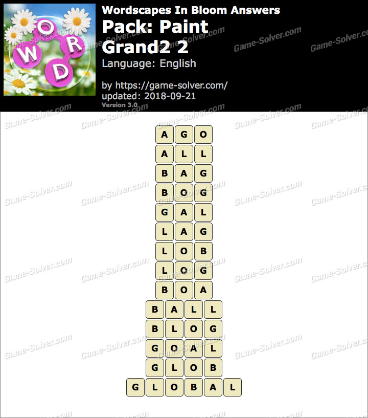 Wordscapes In Bloom Paint-Grand2 2 Answers