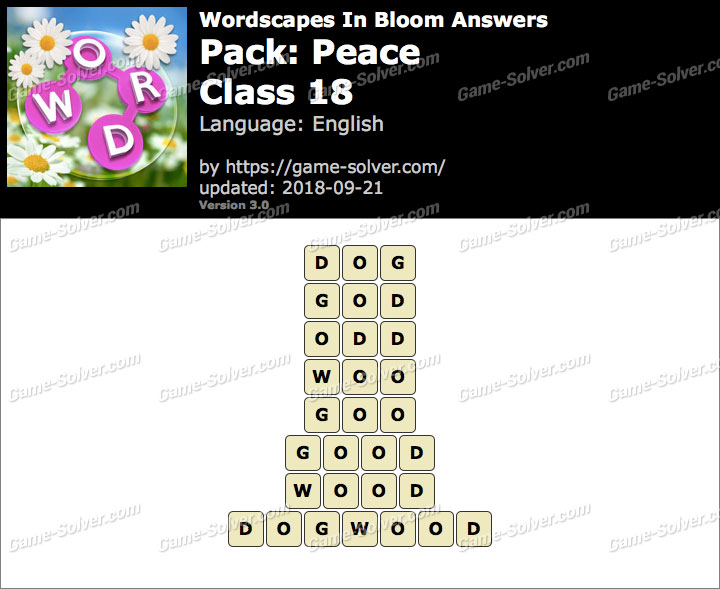 Wordscapes In Bloom Peace-Class 18 Answers