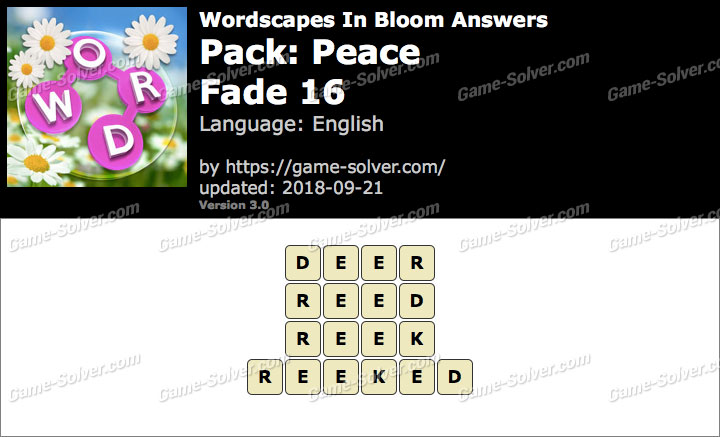 Wordscapes In Bloom Peace-Fade 16 Answers