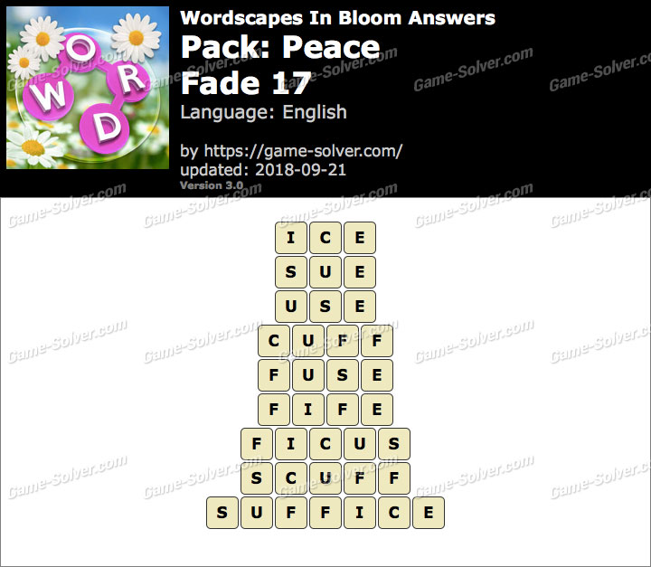Wordscapes In Bloom Peace-Fade 17 Answers