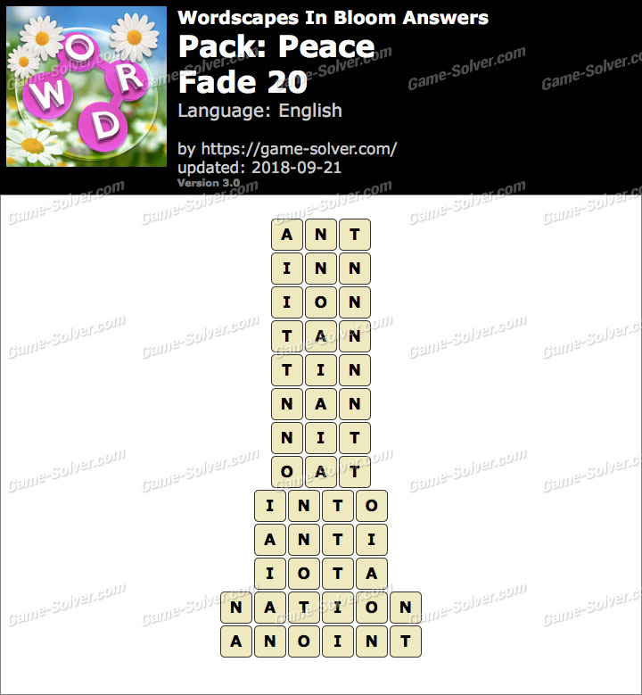 Wordscapes In Bloom Peace-Fade 20 Answers