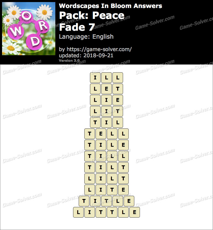 Wordscapes In Bloom Peace-Fade 7 Answers