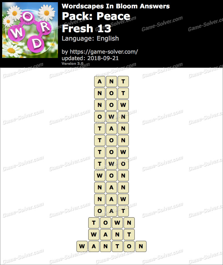 Wordscapes In Bloom Peace-Fresh 13 Answers