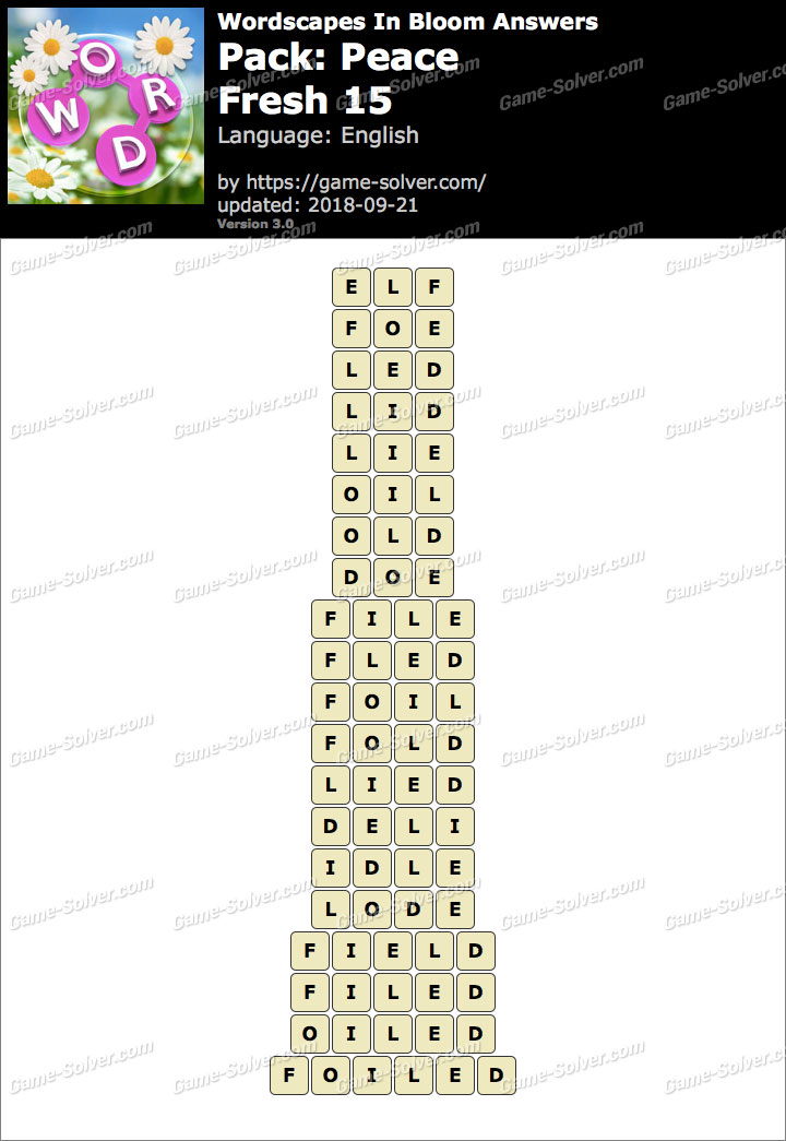 Wordscapes In Bloom Peace-Fresh 15 Answers