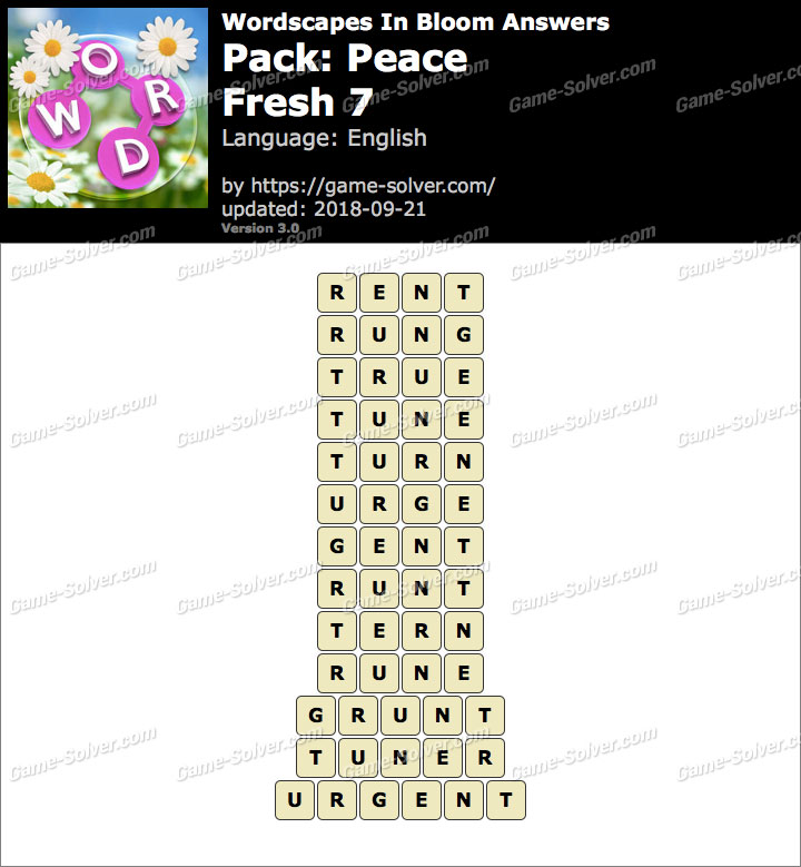 Wordscapes In Bloom Peace-Fresh 7 Answers