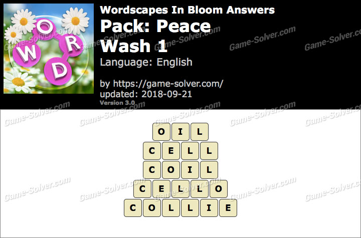 Wordscapes In Bloom Peace-Wash 1 Answers