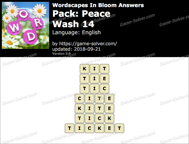 Wordscapes In Bloom Peace-Wash 14 Answers