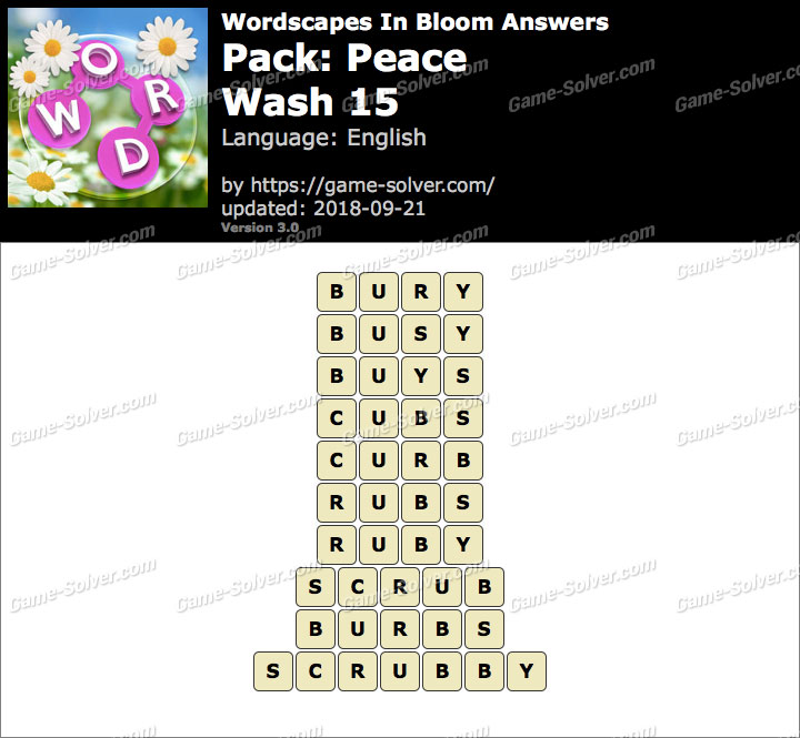 Wordscapes In Bloom Peace-Wash 15 Answers