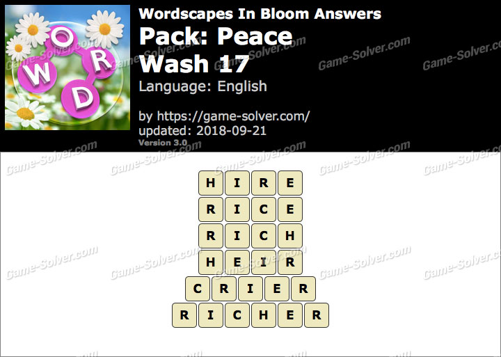 Wordscapes In Bloom Peace-Wash 17 Answers
