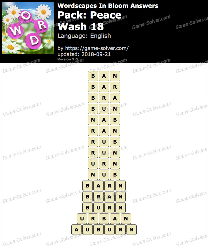 Wordscapes In Bloom Peace-Wash 18 Answers