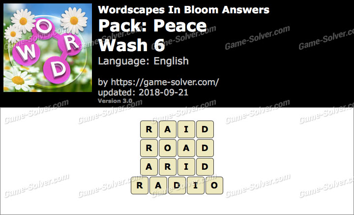 Wordscapes In Bloom Peace-Wash 6 Answers