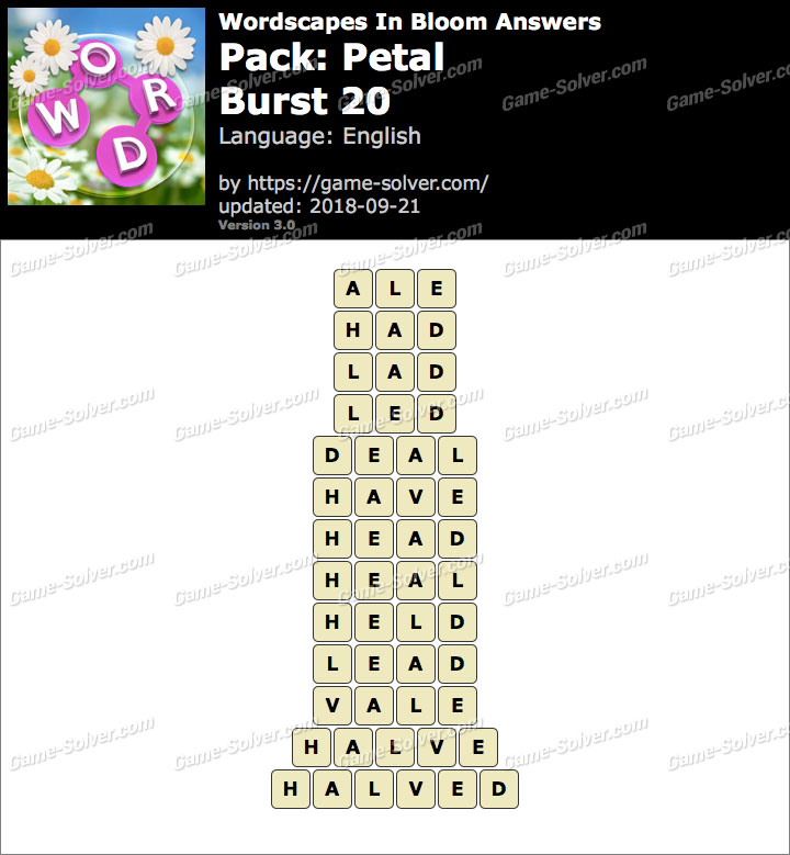 Wordscapes In Bloom Petal-Burst 20 Answers