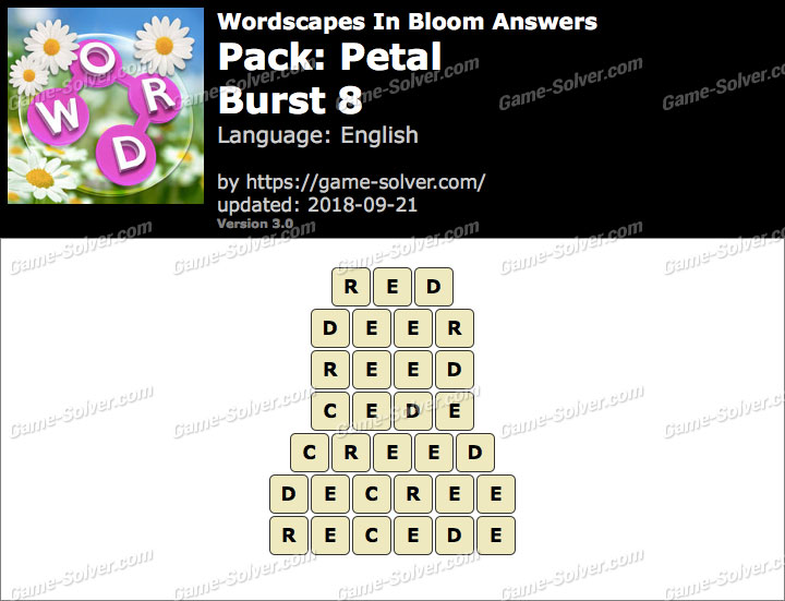Wordscapes In Bloom Petal-Burst 8 Answers