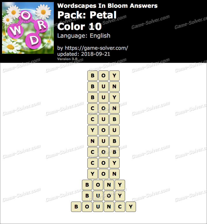 Wordscapes In Bloom Petal-Color 10 Answers