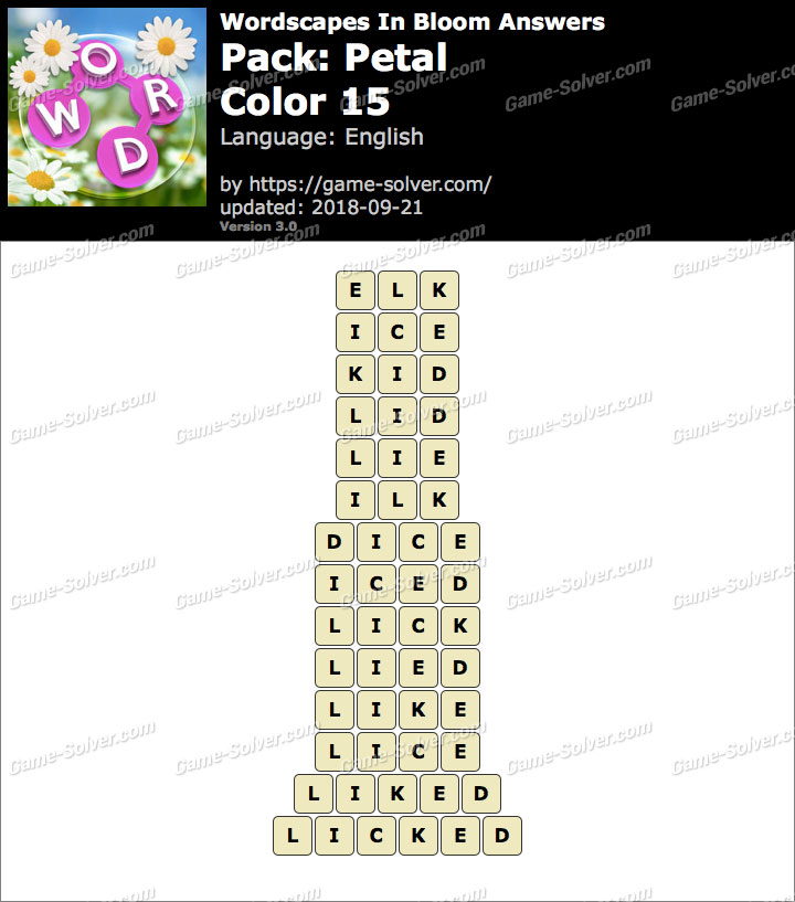 Wordscapes In Bloom Petal-Color 15 Answers
