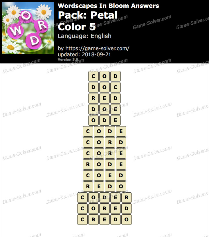 Wordscapes In Bloom Petal-Color 5 Answers