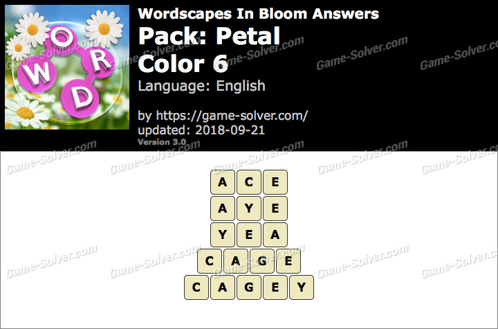 Wordscapes In Bloom Petal-Color 6 Answers