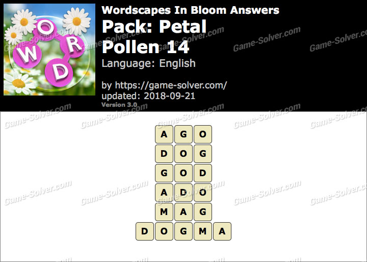 Wordscapes In Bloom Petal-Pollen 14 Answers