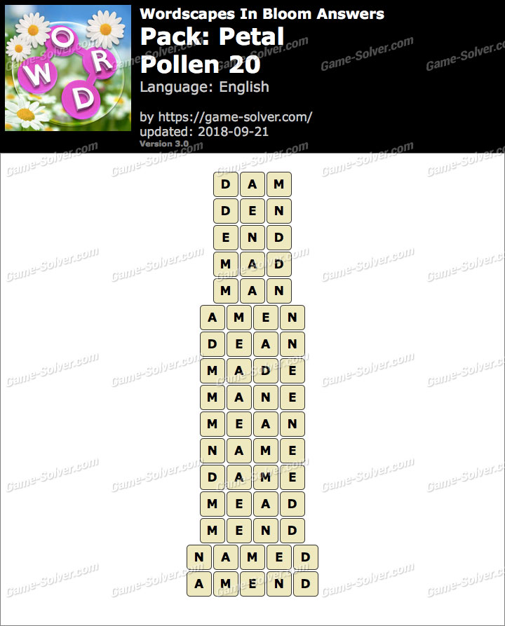 Wordscapes In Bloom Petal-Pollen 20 Answers