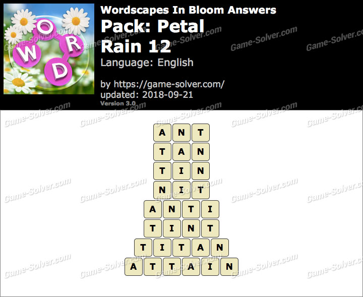 Wordscapes In Bloom Petal-Rain 12 Answers