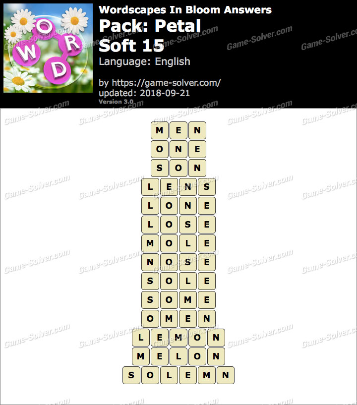Wordscapes In Bloom Petal-Soft 15 Answers