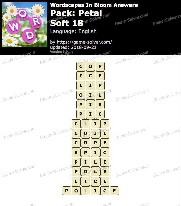 Wordscapes In Bloom Petal-Soft 18 Answers