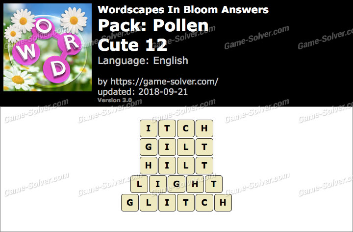 Wordscapes In Bloom Pollen-Cute 12 Answers