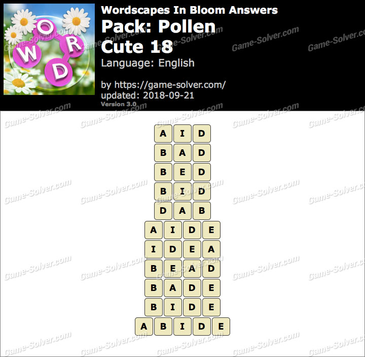 Wordscapes In Bloom Pollen-Cute 18 Answers