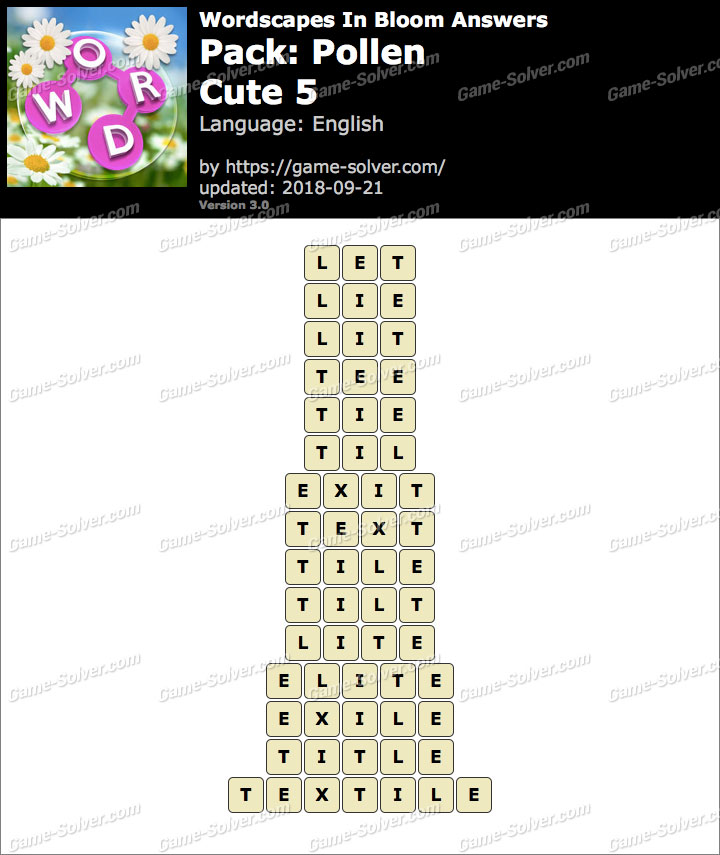 Wordscapes In Bloom Pollen-Cute 5 Answers