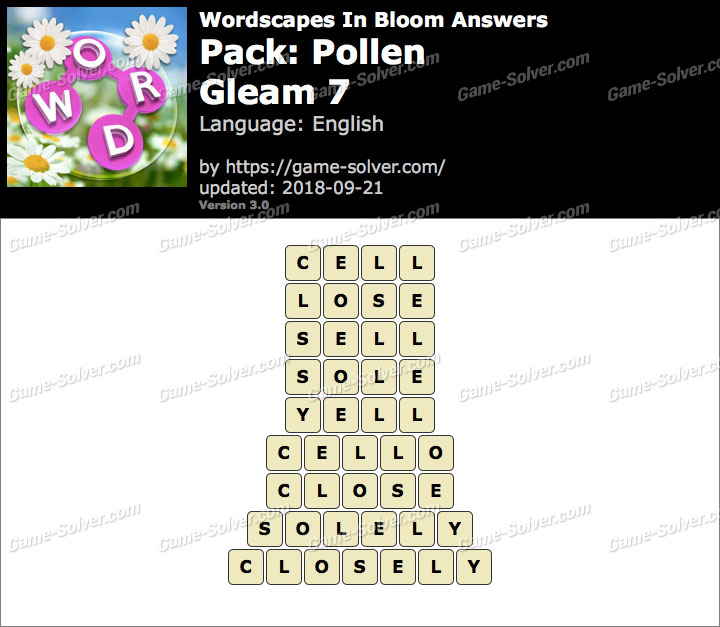 Wordscapes In Bloom Pollen-Gleam 7 Answers